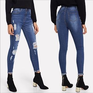 Distressed Skinny Jeans, Dark Wash